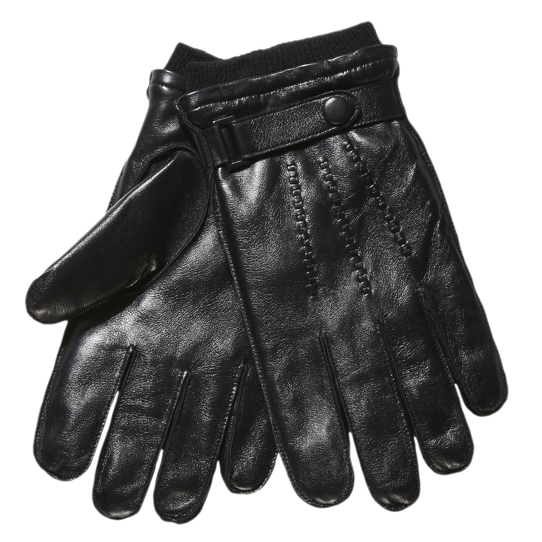Męskie skórzane rękawiczki ze ściągaczem - 9046118