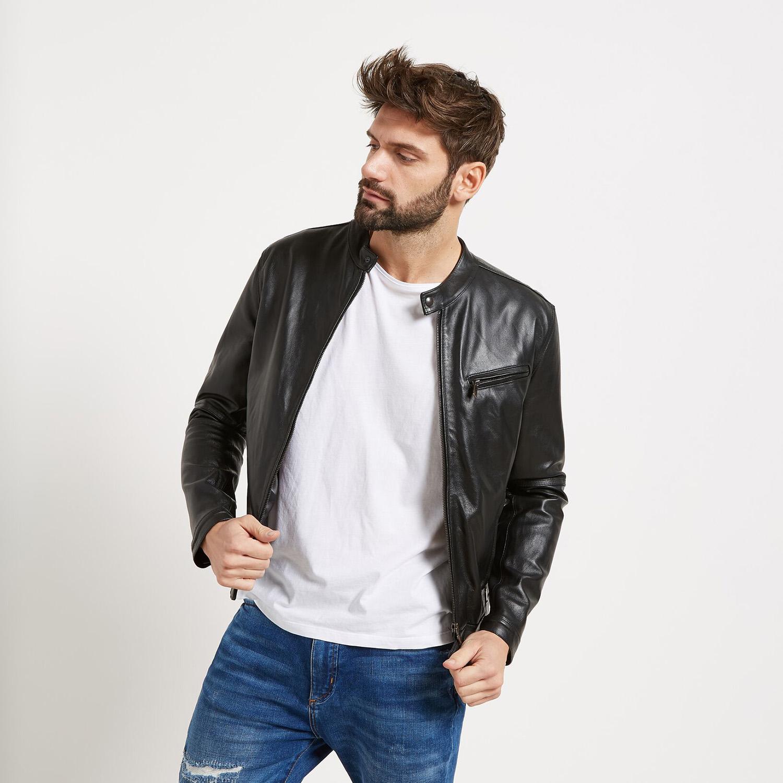 Pánská kožená bunda se stylovým prošitím