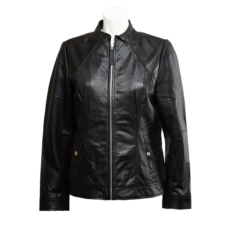 Dámská kožená bunda s perforací