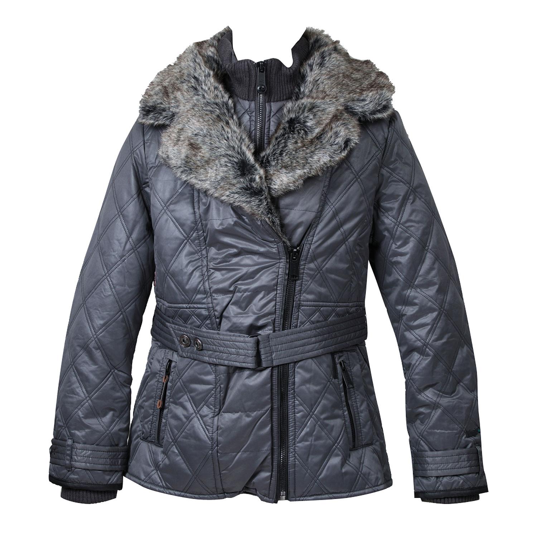 Dámská zimní bunda s kožešinovým límcem
