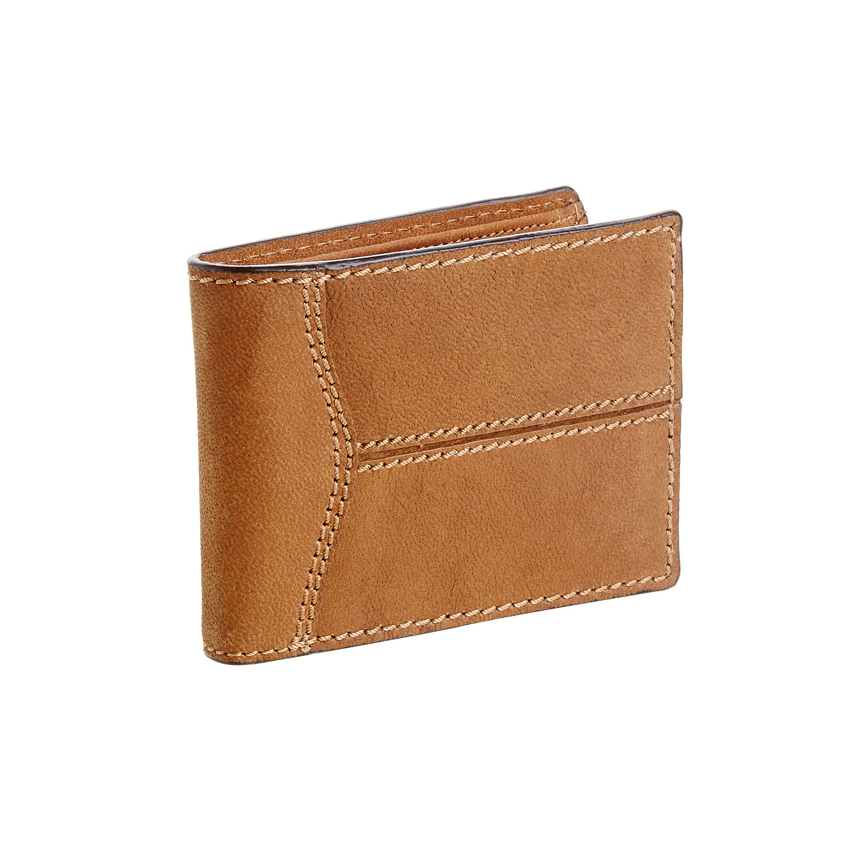 Męski skórzany portfel z przeszyciami - 9443146