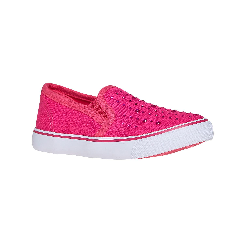 Růžové Slip on boty s kamínky