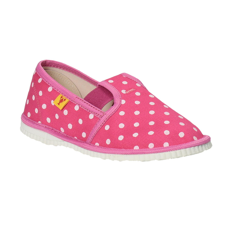 Dívčí domácí obuv s puntíky
