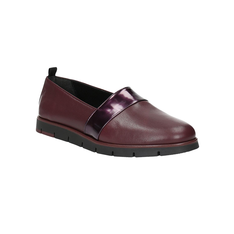 Damskie skórzane buty Slip-On w bordowym kolorze - 5145252