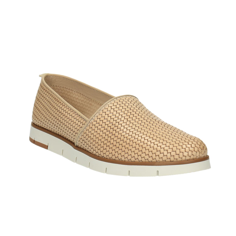 Damskie skórzane buty Slip-On - 5158203