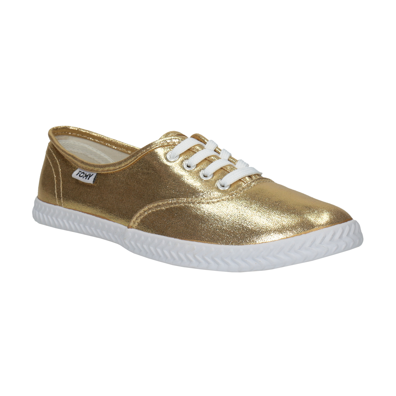 Złote trampki damskie - 5198690