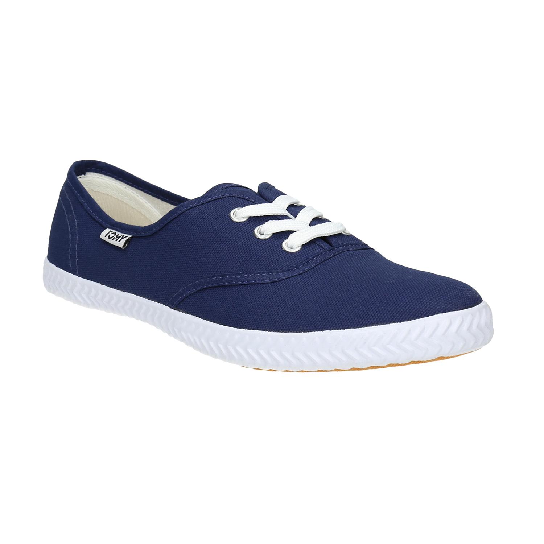 Niebieskie trampki z materiału tekstylnego - 5199691