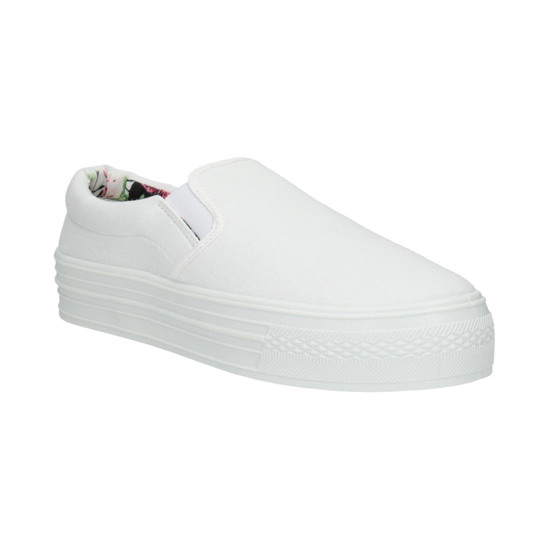 Białe buty Slip-on na szerokiej podeszwie - 5291631