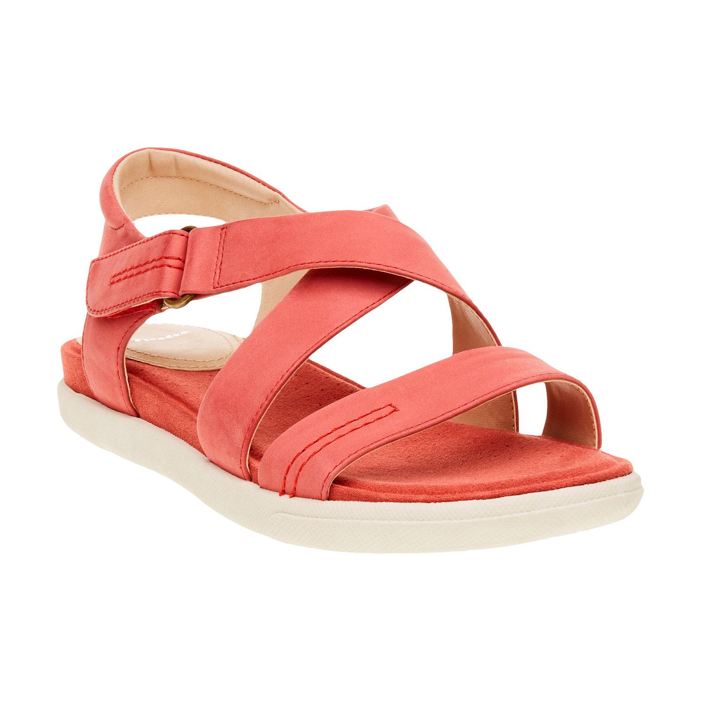 Dámské červené kožené sandály