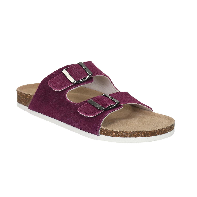 Damskie skórzane pantofle - 5735620