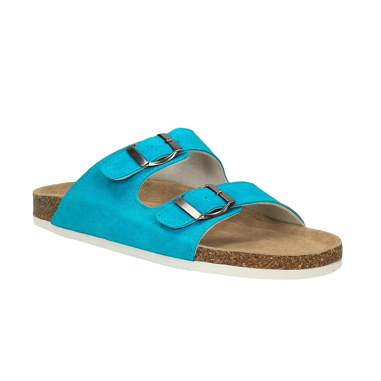 Damskie skórzane pantofle - 5739620
