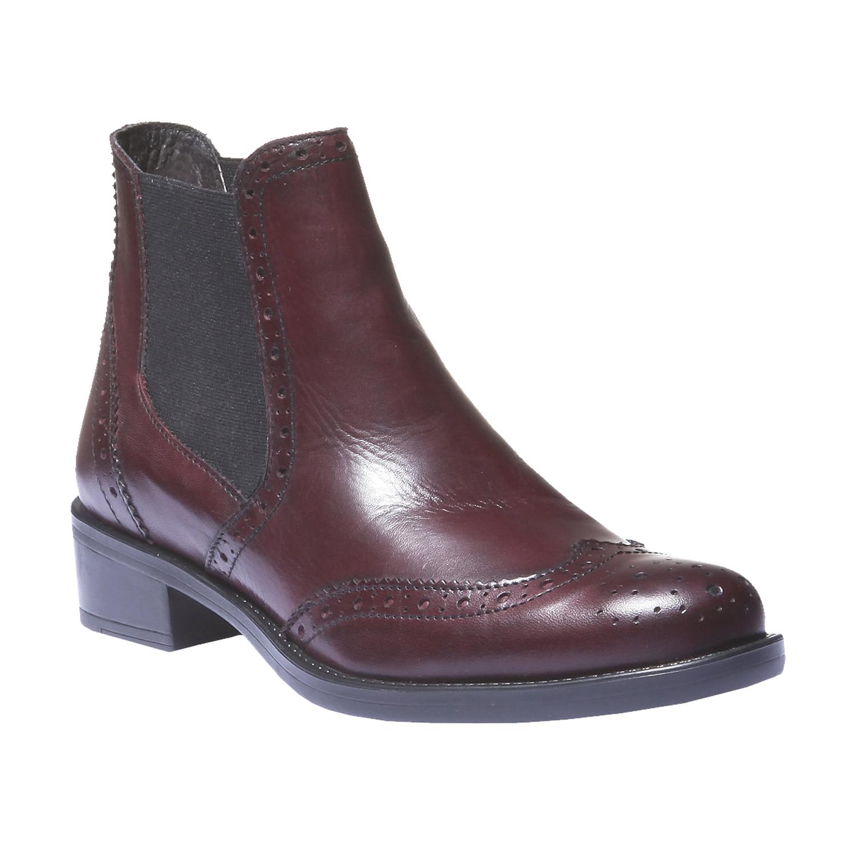 Kožené boty chelsea se zdobením typu brogue