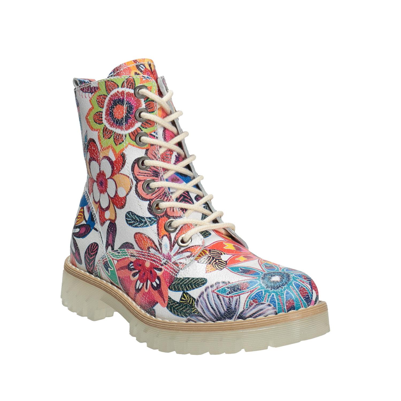 Kožená kotníčková obuv s barevným květinovým vzorem
