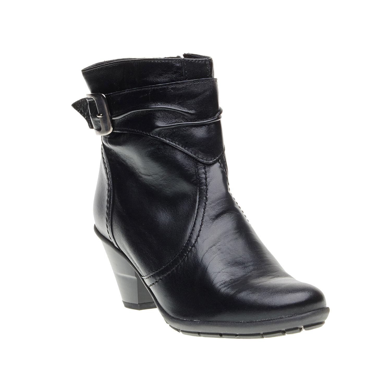 Kožená kotníčková obuv na zkoseném podpatku