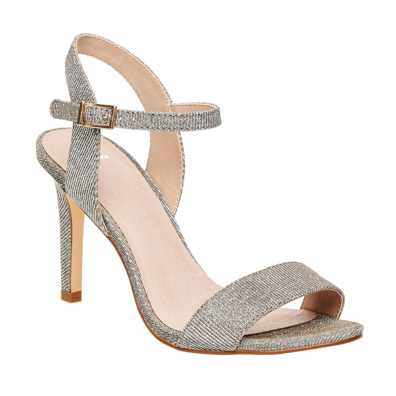 Stříbrné sandály na jehlovém podpatku