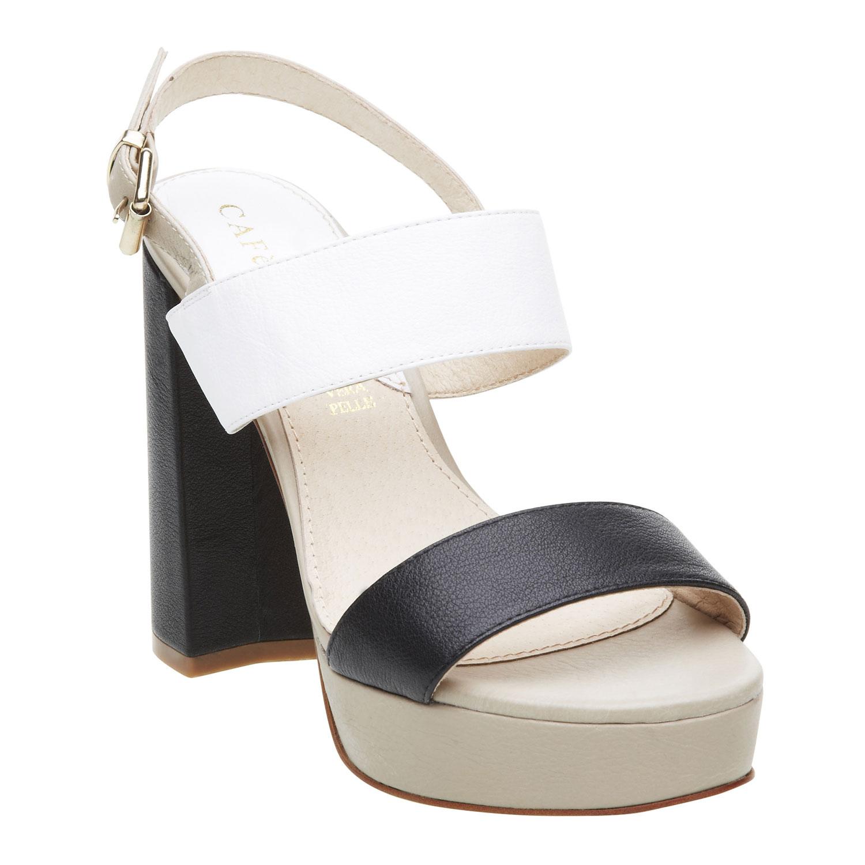 Kožené dámské sandály na masivním podpatku