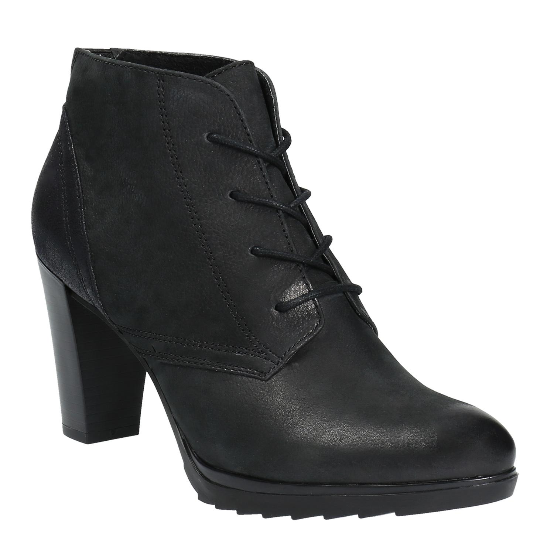 Skórzane buty do kostki na obcasie - 7966602