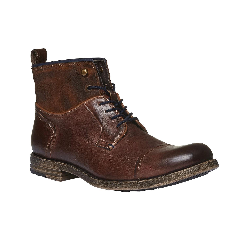 Kožené kotníkového boty šněrovací