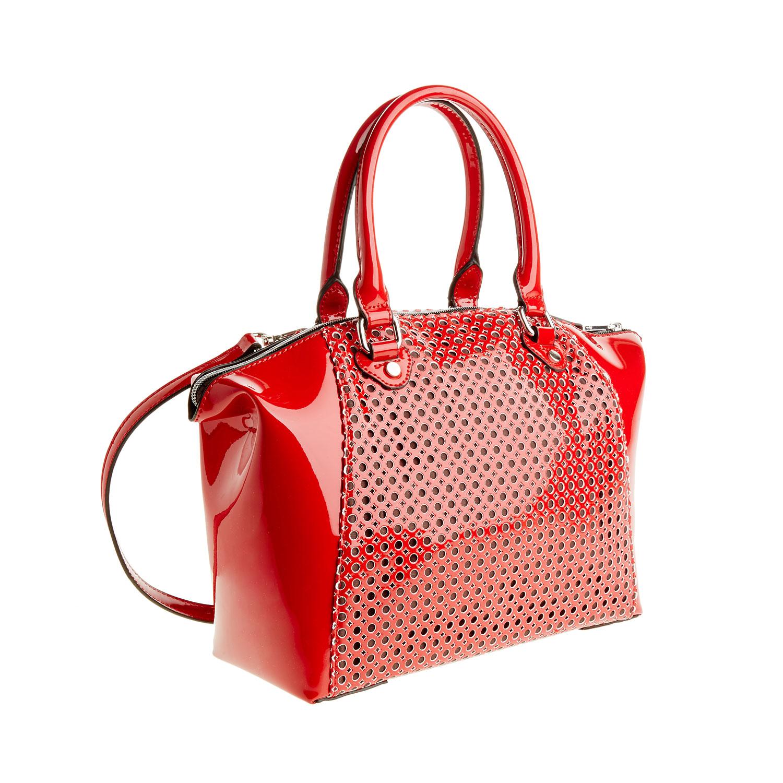 Červená lesklá kabelka