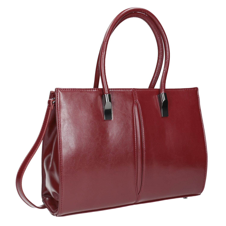 Červená kabelka s pevným dnem