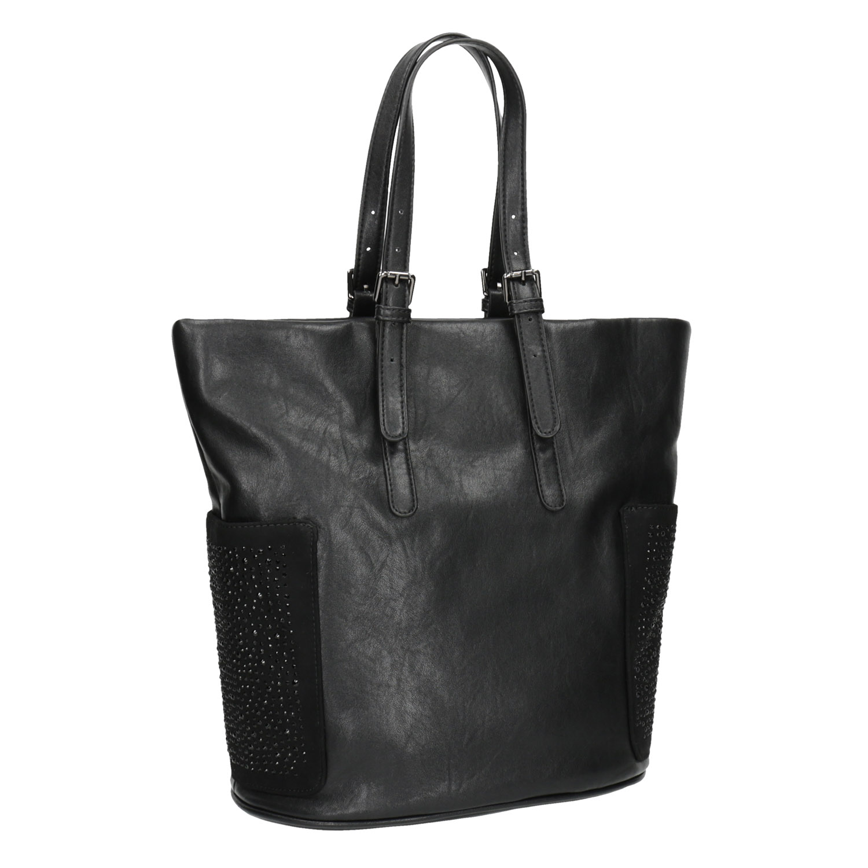 Dámská černá kabelka s kamínky