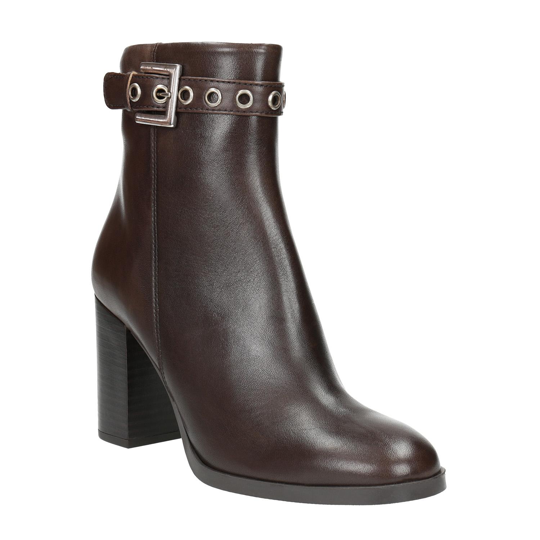 Kožená kotníčková obuv na podpatku
