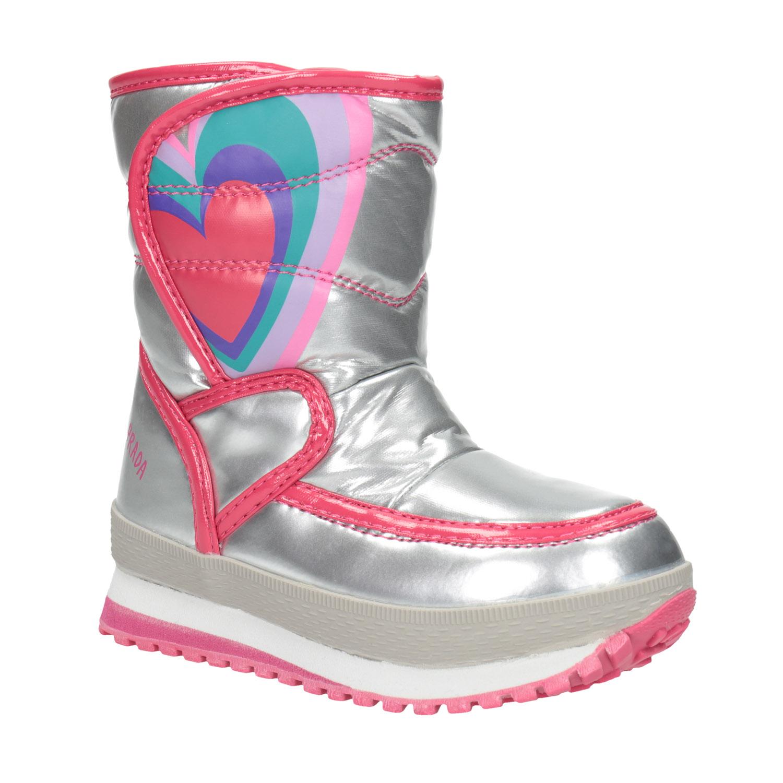 Dívčí zimní obuv stříbrná