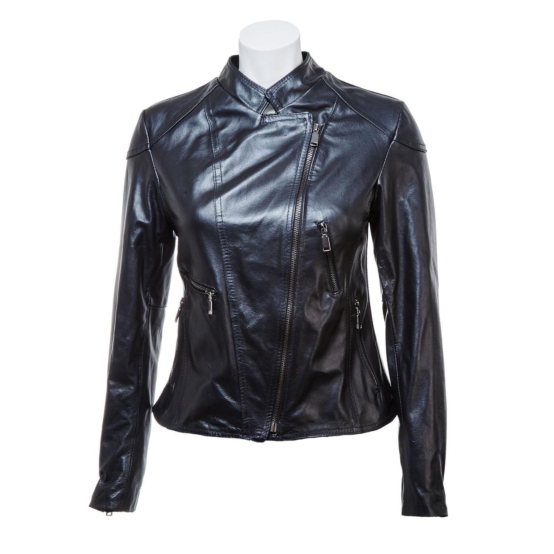 Dámská kožená bunda se zipy
