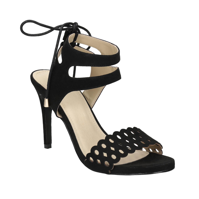 Černé sandály na jehlovém podpatku