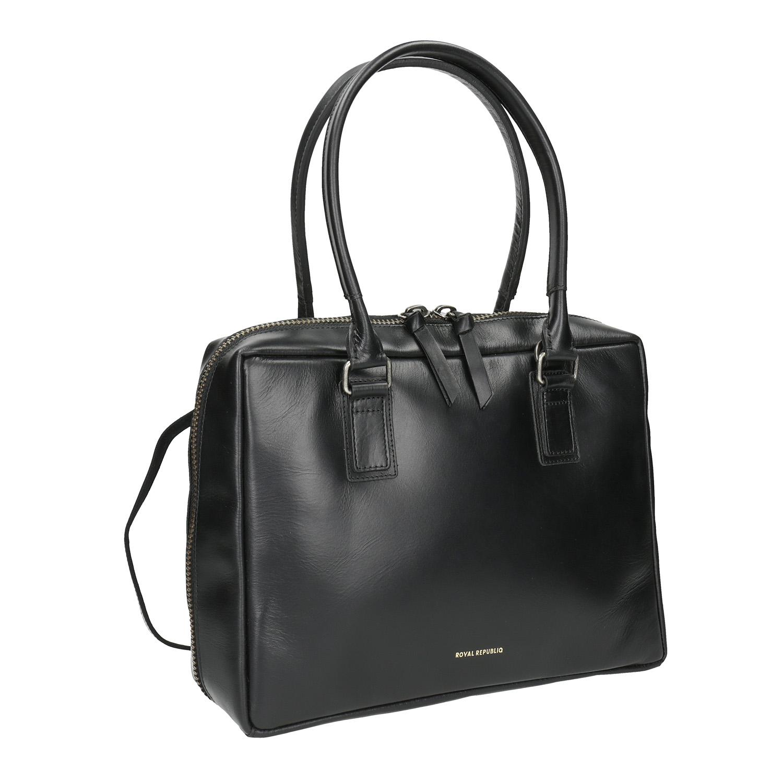 Czarna skórzana torba ze sztywnymi uchwytami - 9646014