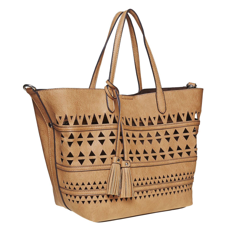Brązowa torba zperforowanym wzorem - 9612274
