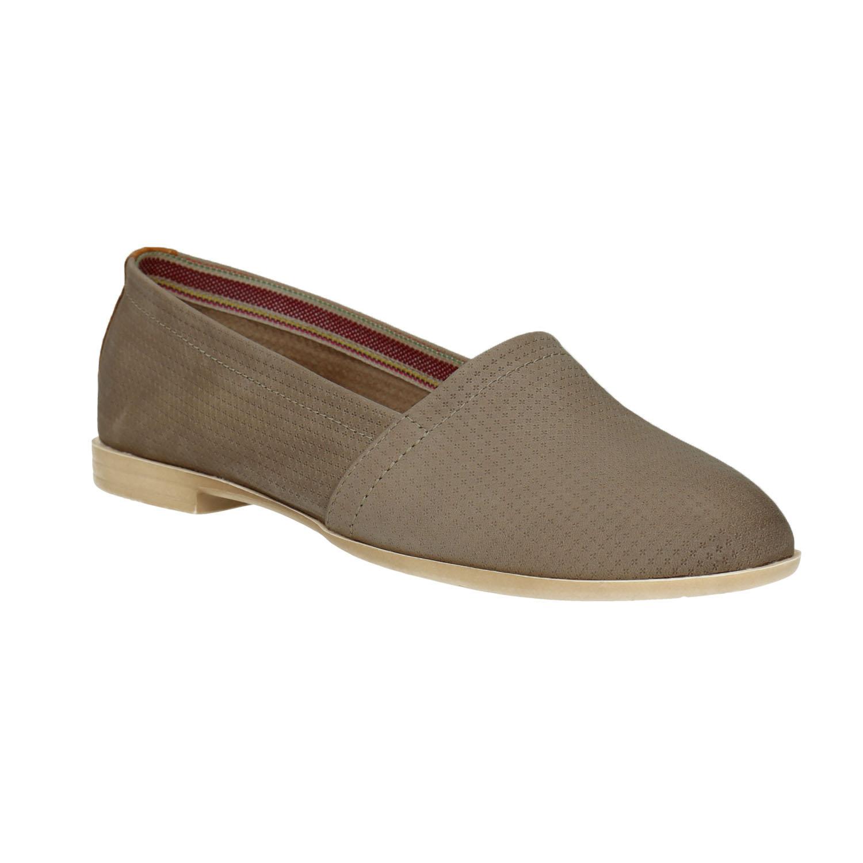 Damskie skórzane buty Slip On - 5162602