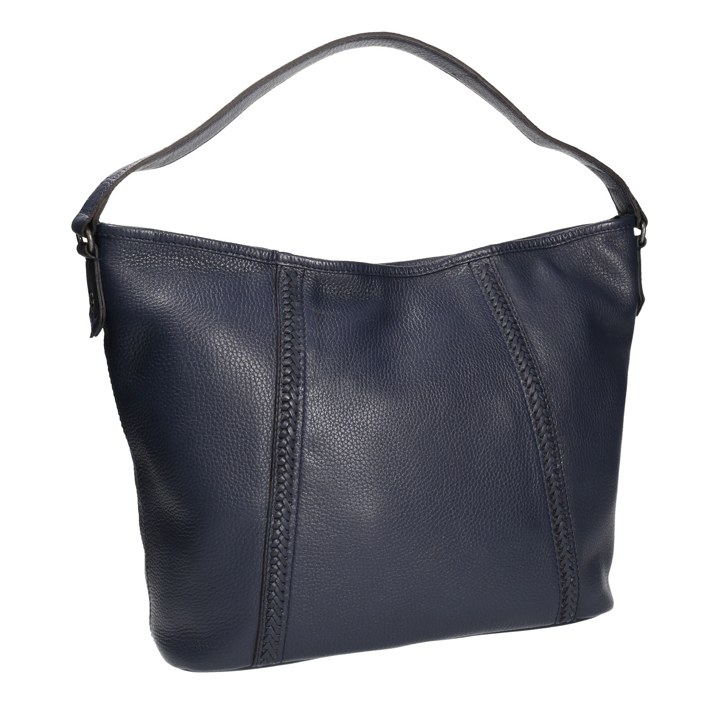 Kožená Hobo kabelka modrá