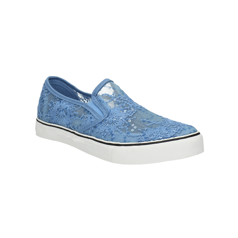 Niebieskie slip-on z koronką i cekinami - 5199600