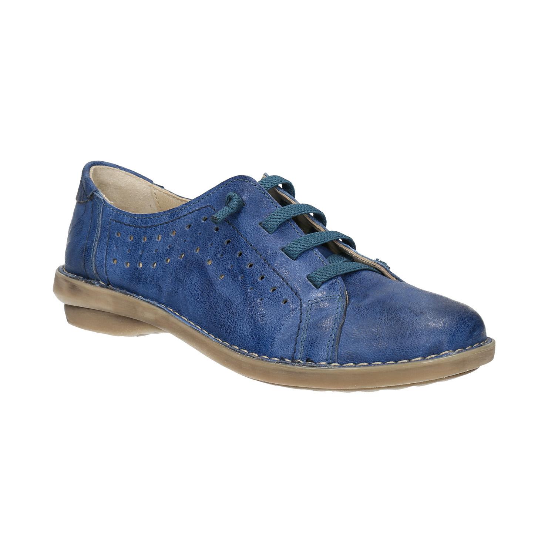 Niebieskie skórzane półbuty wnieformalnym stylu - 5269624
