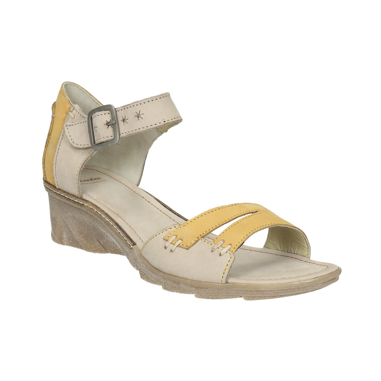 Skórzane sandały na koturnach - 6262642