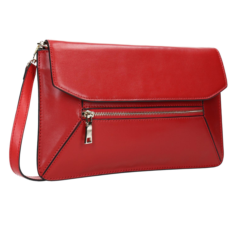 Czerwona skórzana kopertówka - 9645219