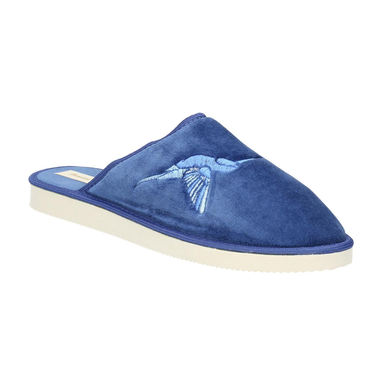 Modré domácí pantofle dámské