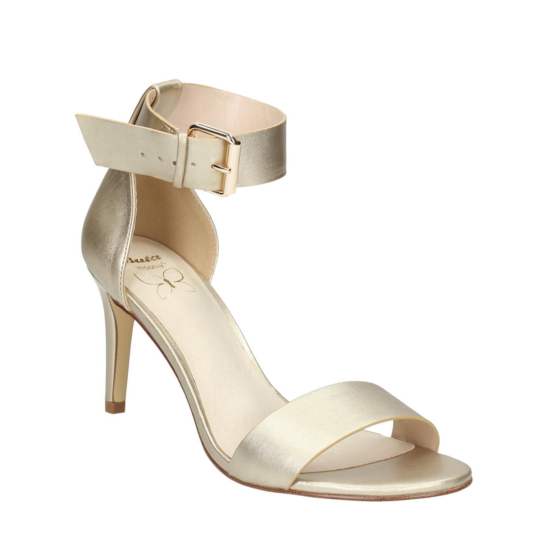 Kožené zlaté sandály na podpatku