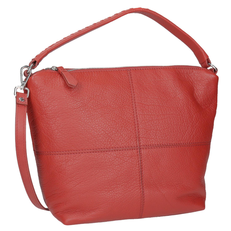 Czerwona skórzana torba wstylu hobo - 9645121
