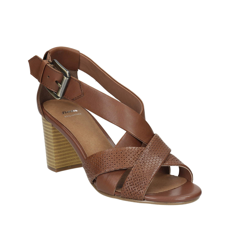 Kožené sandály na stabilním podpatku