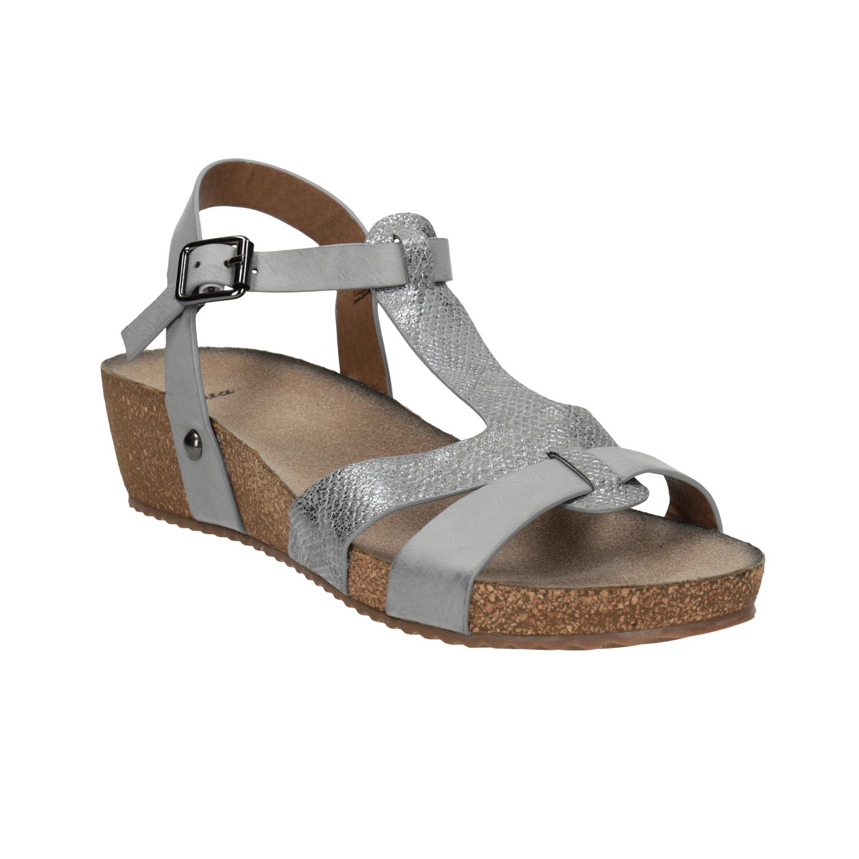 Korkové sandály na klínovém podpatku
