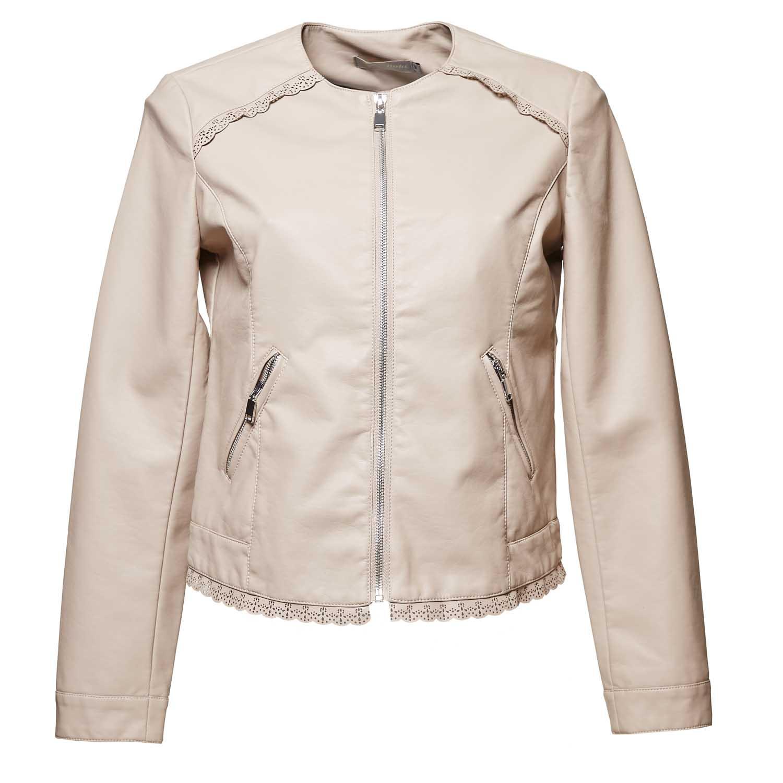 Dámská koženková bunda s detailem krajky