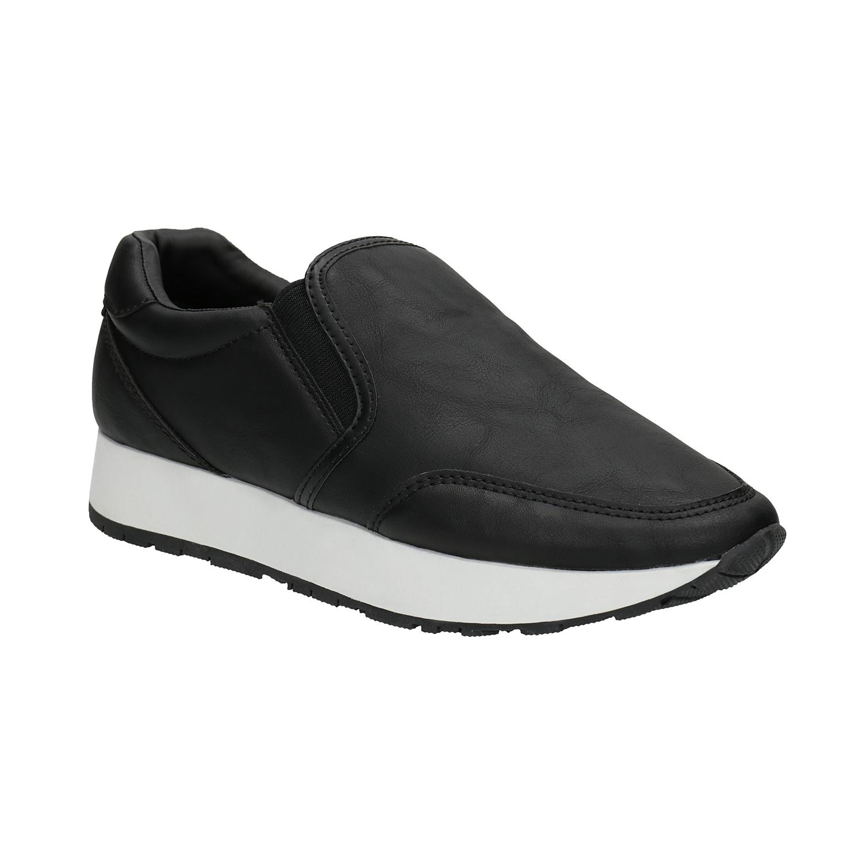 Czarne buty Slip-on na szerokiej podeszwie - 5116603