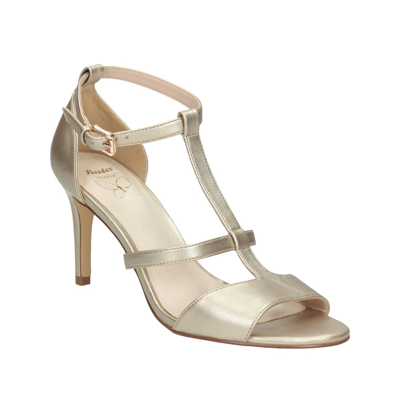 Zlaté dámské sandály na podpatku