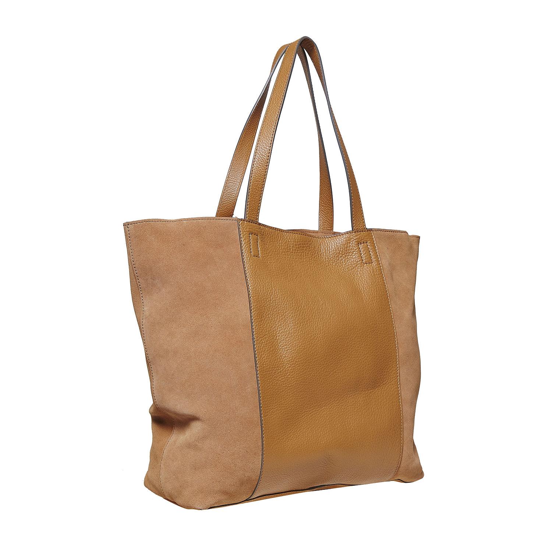 Brązowa skórzana torba damska - 9643185