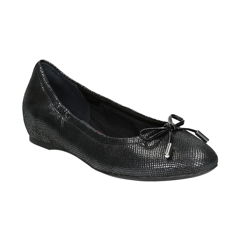 Czarne baleriny damskie ze skóry - 5266021