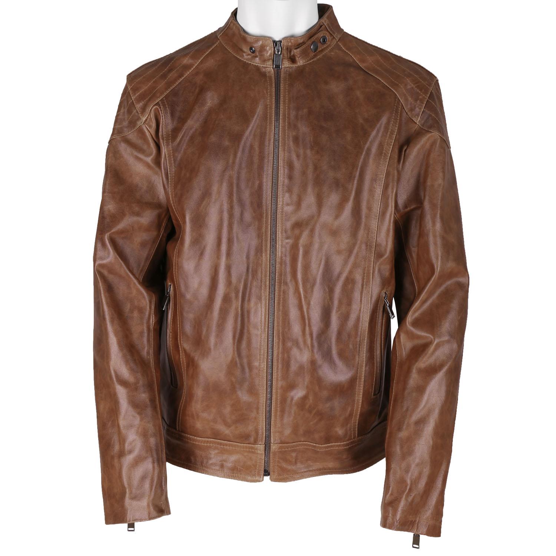 Pánská kožená bunda hnědá