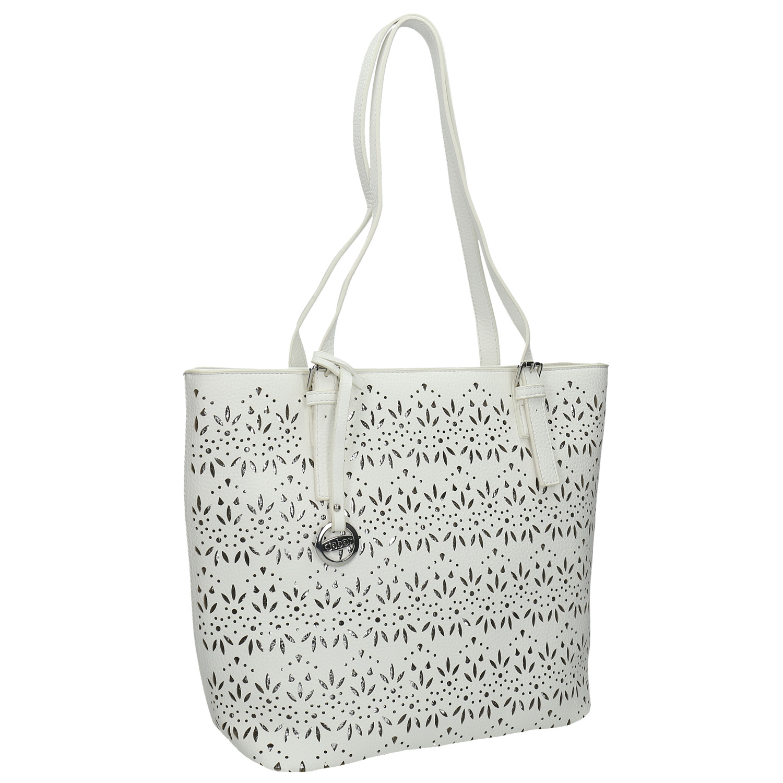 Biała torba damska ze srebrnymi detalami - 9611086