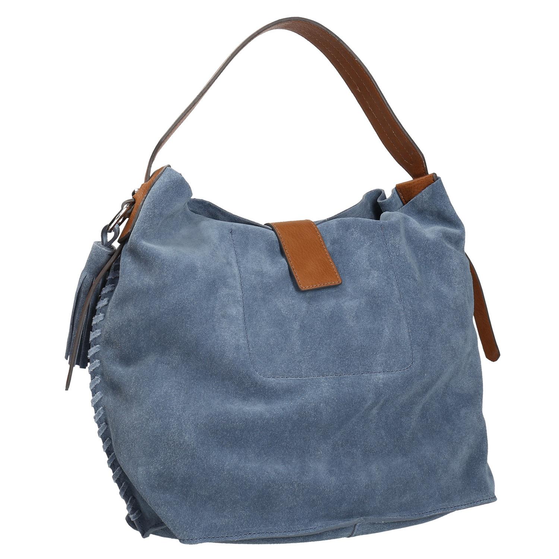 Modrá kožená kabelka